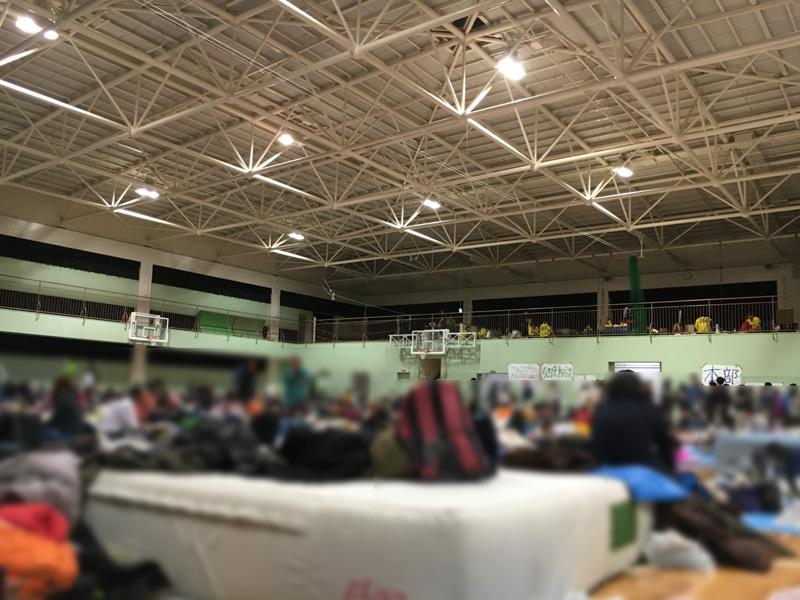 避難所となった体育館