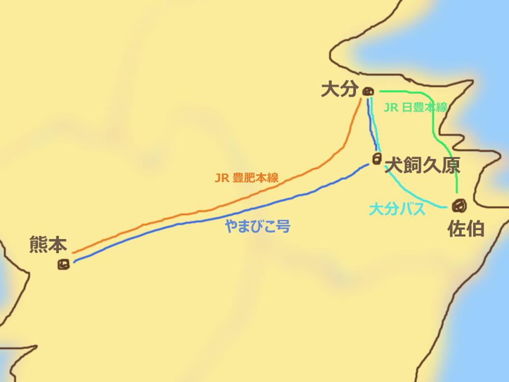 熊本から佐伯までの地図