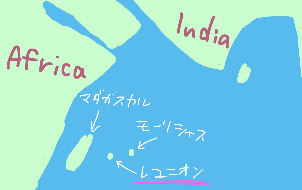 レユニオン島の位置の説明図