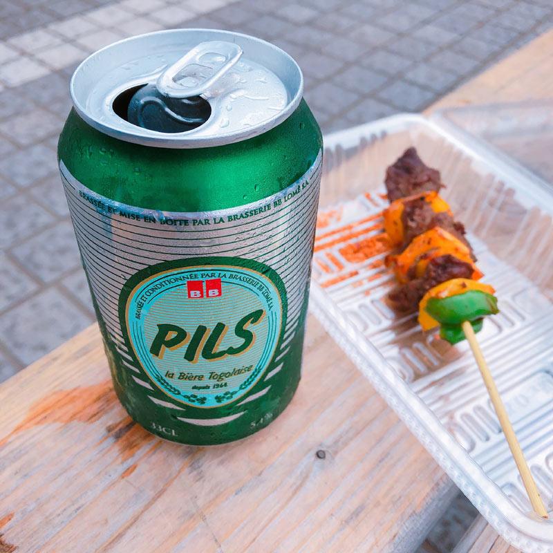 PILSと牛の串焼き