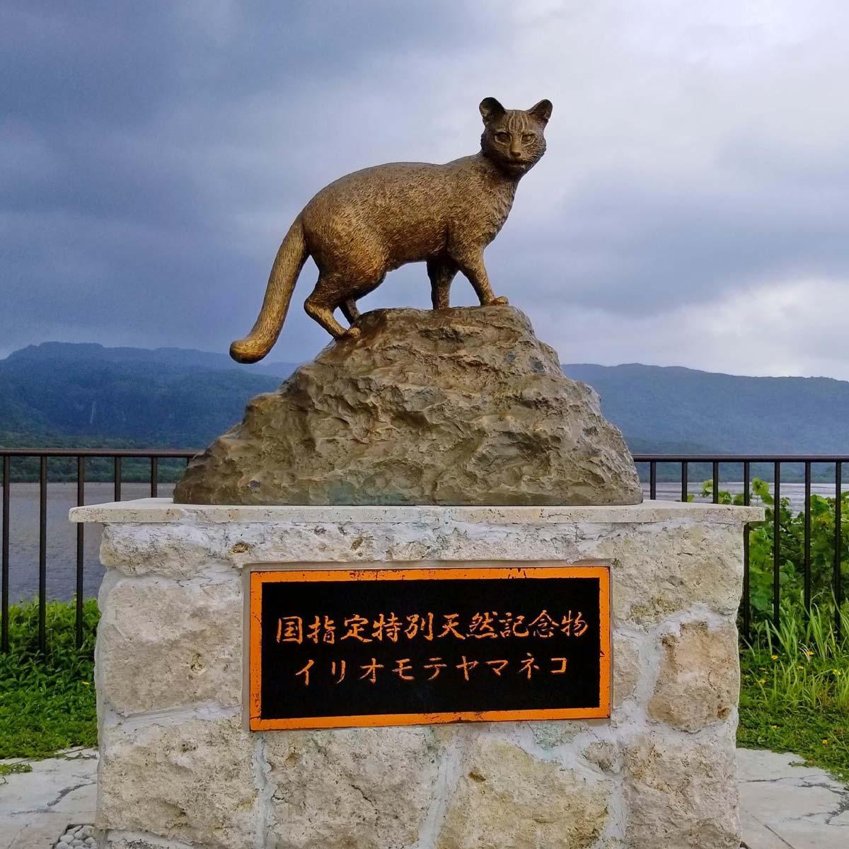 船浦海中道路のイリオモテヤマネコ像